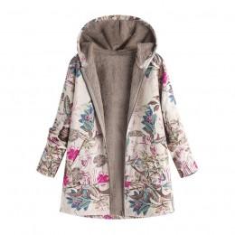 Chaqueta femenina abrigo de felpa para mujer abrigo de invierno cálido Outwear Floral estampado con capucha bolsillos Vintage Ov