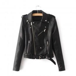 Aelegantmis otoño nueva chaqueta corta de cuero suave de imitación de moda de las mujeres cremallera de la motocicleta PU chaque