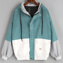 Abrigos y chaquetas de manga larga con retazos de pana de gran tamaño con cremallera chaqueta cortavientos abrigos y chaquetas d