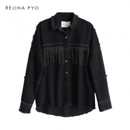 REJINAPYO mujeres negro de alta calidad chaqueta de mezclilla suelta abrigo de borlas con lentejuelas ropa de calle todo-fósforo