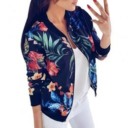 Chaqueta negra Retro con estampado Floral para mujer Chaqueta corta de primavera cuello redondo de manga larga chaqueta de bomba
