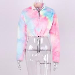 Hugcitar manga larga cremallera cuello alto Faux lambswool crop tops 2018 Otoño Invierno mujer moda chaqueta sólida