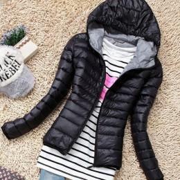 2019 Otoño Invierno mujer chaqueta básica abrigo mujer delgada con capucha marca algodón abrigos Casual negro chaquetas