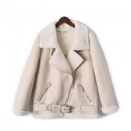 AOEMQ Retro nueva solapa y terciopelo acolchado una capa de piel caliente de moda PU cuero Cordero pelo motocicleta ropa chaquet