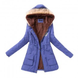 Parka a la moda Otoño Invierno chaquetas de abrigo de piel de mujer Abrigos largos Parkas sudaderas Oficina señora algodón talla