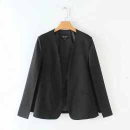 Abrigo de traje de capa de diseño dividido para mujer chaqueta casual negra y blanca de moda ropa de calle suelta tops C613