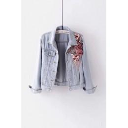 2019 otoño mujer bordado de tres dimensiones flores perla corto abrigo de mezclilla mujer chaqueta de Jean de manga larga xintia
