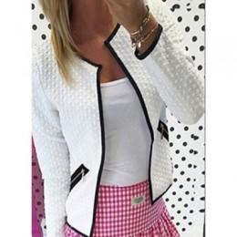 Chaqueta de primavera para mujer moda Color sólido bolsillo cremallera Casual abrigo Puls tamaño S-4XL cárdigan de tartán ajusta