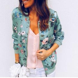 Primavera Verano Chaqueta corta delgada para mujer moda estampado Floral chaqueta Bomber delgada cuello redondo manga larga Casu