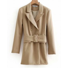 Moda Za 2019 mujeres caqui Casual primavera otoño chaqueta femenina elegante cintura ajustable con cinturón manga larga casaco f
