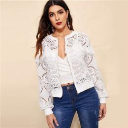 Sheinside blanco elegante ahuecado hacia fuera chaqueta de encaje mujeres 2019 Back frazed borde detalle chaquetas señoras fleco