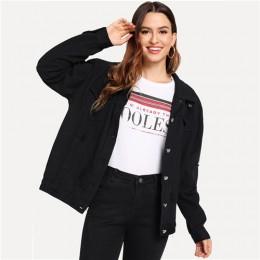 COLROVIE Ripped Drop Shoulder mujeres chaquetas de mezclilla negro blanco Oversize púrpura Casual chaqueta femenina chaqueta Chi