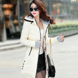 2019 mujeres invierno con capucha abrigo más tamaño caramelo color algodón acolchado chaqueta femenina parka larga Mujer wadded
