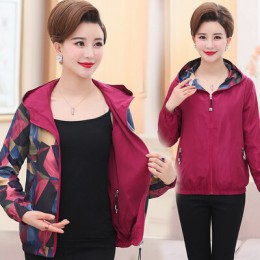 ASLTW dos lados desgaste chaqueta femenina nuevo otoño primavera estampado de manga larga abrigo más tamaño con capucha chaqueta
