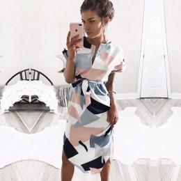 2019 gran oferta Vestidos de fiesta Midi para mujer con estampado geométrico de verano Boho Vestido de playa suelto con manga de