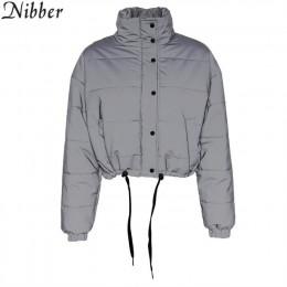 Nibber invierno moda reflectante corto cálido mujeres Chaquetas Chaqueta corta chaqueta de Color gris nuevo señoras Parka primav