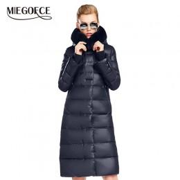 Chaqueta de abrigo de mujer miegfce 2019 de longitud media Parka de mujer con un abrigo grueso de invierno de piel de conejo par