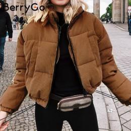 BerryGo Casual de pana gruesa parka abrigo de invierno de moda caliente abrigos de Mujer de gran tamaño streetwear chaqueta abri