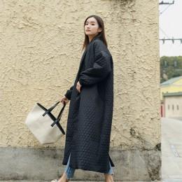 LANMREM nueva moda negro de gran tamaño de solapa con botón de ventilación chaqueta de invierno 2018 abrigo largo de algodón par
