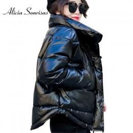Chaqueta acolchada de algodón de invierno 2019 brillante para mujer chaqueta gruesa brillante negra corta brillante Parkas de al