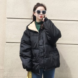 Gran tamaño 2019 Real nueva cremallera sólida moda algodón acolchado chaqueta más yardas grandes con capucha caliente Q17 invier