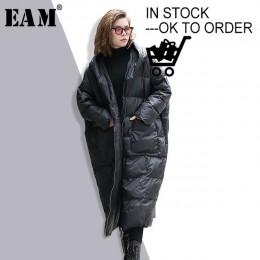 [EAM] 2019 nuevo invierno con capucha de manga larga Color sólido negro algodón acolchado caliente suelta chaqueta de gran tamañ