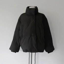 Otoño Invierno chaqueta Mujer Parkas Mujer 2019 moda abrigo suelto cuello de pie chaqueta Mujer Parka abrigo Casual cálido talla