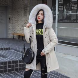 2019 algodón forro abrigo cálido y chaqueta impermeable mujeres más tamaño Delgado largo abrigo femenino invierno gran piel con