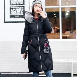 Abrigo de invierno de piel grande parka espesada mujeres costura slim largo abrigo de invierno de algodón señoras abajo parka ab