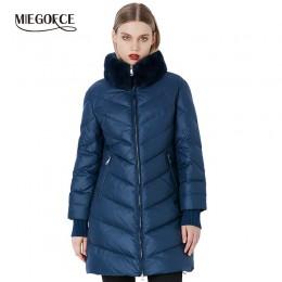 Chaqueta de abrigo de invierno miegfce 2019 para mujer, abrigo grueso a prueba de viento, con cuello de piel de conejo de estilo