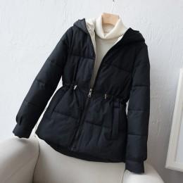Abrigos mujer invierno 2019 nueva Parka con cremallera corta chaqueta acolchada de algodón con capucha chaqueta de invierno para