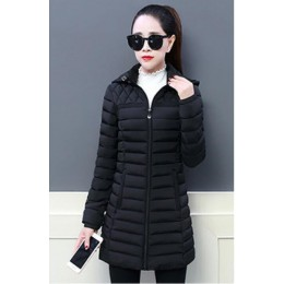 2019 mujeres invierno con capucha abrigo delgado más tamaño 5XL Color caramelo algodón acolchado chaqueta básica femenina medio-