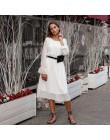 BGTEEVER Ruffles Polka Dot mujeres vestido de gasa cintura elástica Flare manga femenina Vestidos largos A-line vestido blanco 2