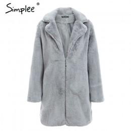 Simplee elegante Rosa peludo abrigo de piel sintética para mujer streetwear otoño invierno cálido plush teddy abrigo femenino de