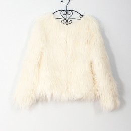 Abrigo de piel de imitación de moda abrigo de mujer de manga larga de abrigo de otoño invierno chaqueta de abrigo sin cuello