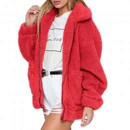 2019 abrigo de peluche de Invierno para mujer abrigo de piel de imitación chaqueta de oso de peluche chaqueta gruesa de lana fal