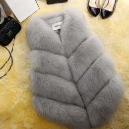 2018 nueva moda abrigo de piel sintética abrigo de invierno para mujer abrigo de piel Gilet mujeres chaqueta de piel Chaleco de