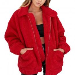 Abrigo de piel sintética elegante para mujer 2019 Otoño Invierno grueso cálido chaqueta de lana suave bolsillo cremallera prenda