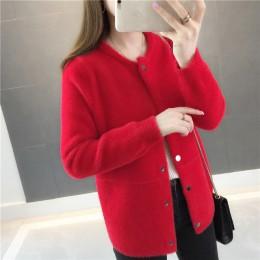 Chaqueta de suéter de piel de visón de otoño e invierno 2019 nueva cárdigan de manga larga de terciopelo suelto para mujer