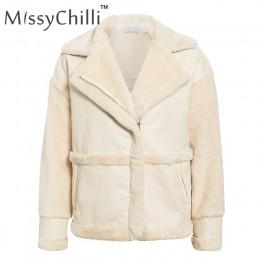 Missychili piel de imitación de retazos de cuero suave abrigo de mujer otoño Chaqueta corta abrigo de invierno de peluche mullid