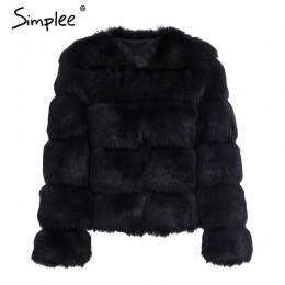 Simplee Vintage fluffy de abrigo de piel las mujeres corto peludo piel falsa ropa de invierno abrigo Rosa Otoño de 2018 de fiest