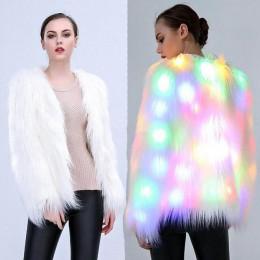 6XL mujeres imitación piel LED luz abrigo trajes de Navidad Cosplay chaqueta de piel mullida Outwear invierno cálido Festival Fi