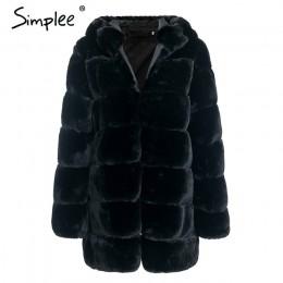 Simplee Vintage mullido hoodie faux fur abrigo mujer invierno chaqueta gris abrigo femenino talla grande abrigo largo casual abr