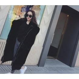 Abrigo de piel sintética de gran tamaño con capucha de gran tamaño de invierno 2018 nueva chaqueta de piel de mujer de manga lar