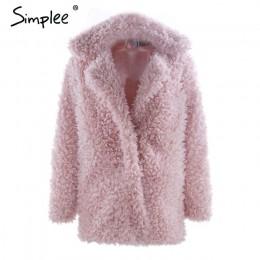 Simplee abrigo de piel sintética de invierno cálido para mujer moda streetwear tallas grandes abrigo largo femenino 2018 Rosa ca