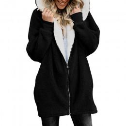Abrigo de piel sintética grueso de invierno abrigo de piel de imitación de moda con capucha de lana suave cremallera cárdigan de