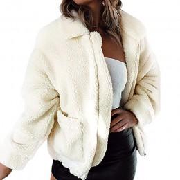 Sudadera con solapa y cremallera plateada abrigo de piel de lana para mujer Otoño Invierno chaqueta suave gruesa de felpa abrigo