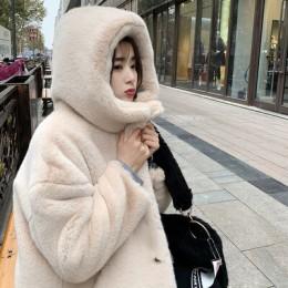 Nuevo abrigo de piel de Otoño Invierno para mujer ropa de alta calidad Imitación Piel de visón con capucha de talla grande grues