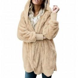 NORMOV de talla grande de felpa con capucha abrigos sudadera manga larga cálido cárdigan prendas de vestir Teddy chaqueta acoged