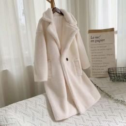 Rosa largo oso de peluche chaqueta abrigo mujer invierno 2019 grueso cálido oversize grueso abrigo mujer Faux lana de cordero ab